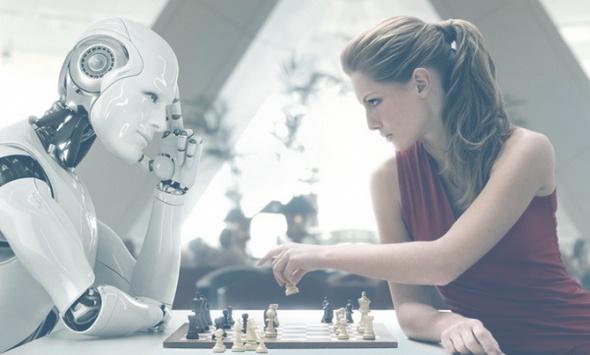 IA y mujer jugando al ajaedrez